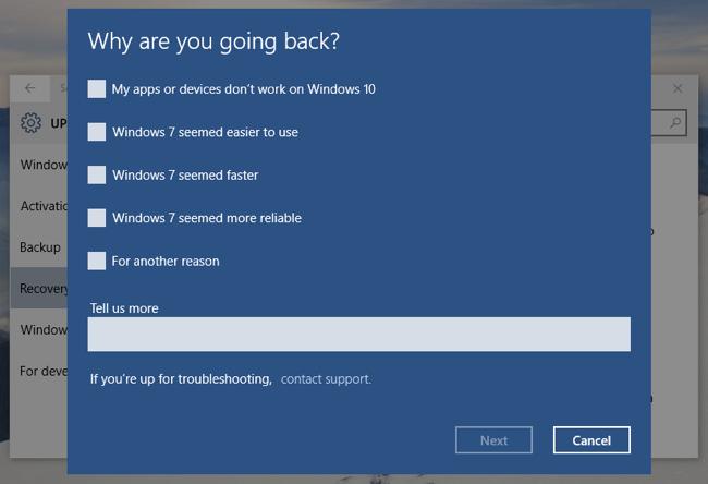 Uninstall Windows 10